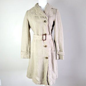 Banana Republic Beige 100% Linen Trench Coat.